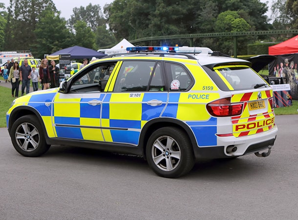 Policing - Beaulieu, Hampshire, UK - BMW patrol car belonging to the UK Police Force